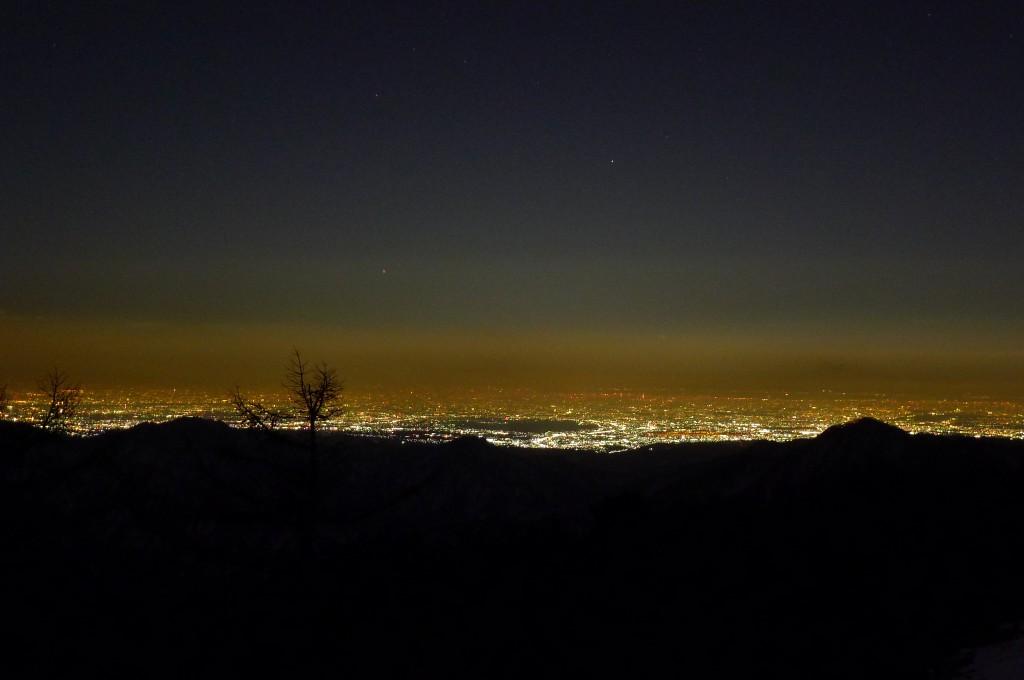 雲取山山頂から夜景